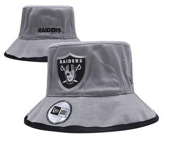 2020 Las Vegas Raiders Stitched Grey Bucket Fisherman Football Hats
