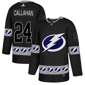 Lightning #24 Ryan Callahan Black  Team Logo Fashion Stitched Hockey Jersey
