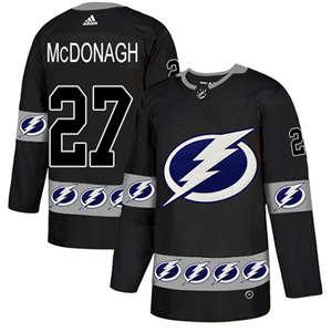 Lightning #27 Ryan McDonagh Black  Team Logo Fashion Stitched Hockey Jersey