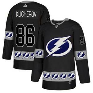 Lightning #86 Nikita Kucherov Black  Team Logo Fashion Stitched Hockey Jersey