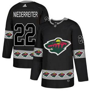 Wild #22 Nino Niederreiter Black  Team Logo Fashion Stitched Hockey Jersey