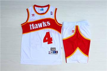 Atlanta Hawks #4 Spud Webb White Hardwood Classics Jersey(With Shorts)