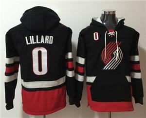 Blazers #0 Damian Lillard Black Name & Number Pullover Basketball Hoodie