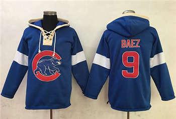Chicago Cubs #9 Javier Baez Blue Pullover Baseball Hoodie