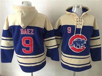 Chicago Cubs #9 Javier Baez Blue Sawyer Hooded Sweatshirt Baseball Hoodie