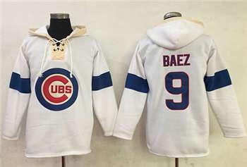 Chicago Cubs #9 Javier Baez White Pullover Baseball Hoodie