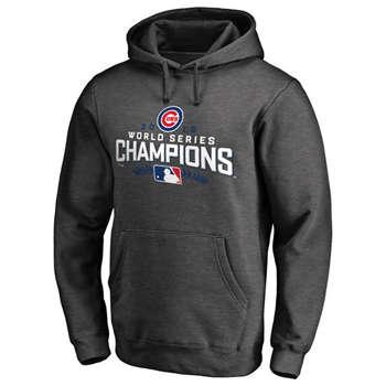 Chicago Cubs 2016 World Series Champions Locker Room Streak Fleece Men's Charcoal Pullover Hoodie