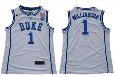 Duke Blue Devils #1 Zion Williamson White Stitched College Basketball Jersey