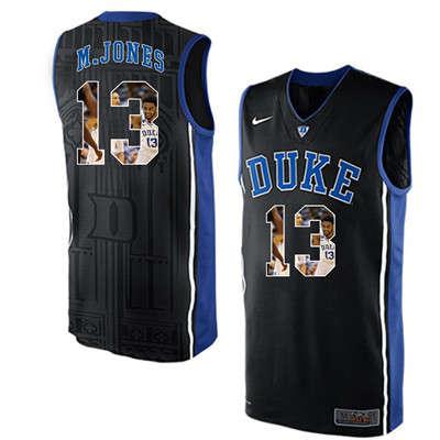 Duke Blue Devils 13 Matt Jones Black With Portrait Print College Basketball Jersey
