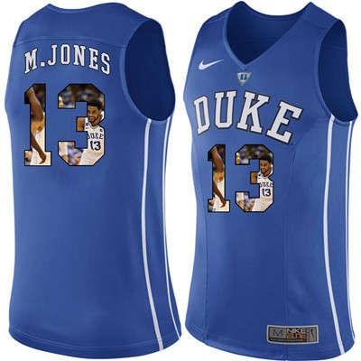 Duke Blue Devils 13 Matt Jones Blue With Portrait Print College Basketball Jersey2