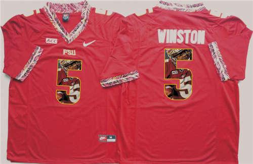Florida State Seminoles #5 Jameis Winston Red Portrait Number NCAA College Football Jersey