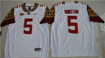 Florida State Seminoles #5 Jameis Winston White College Football Jersey
