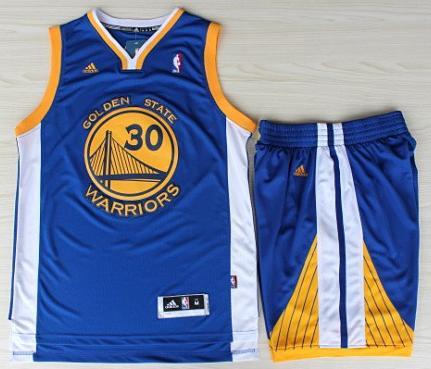 Golden State Warriors 30 Stephen Curry Blue Revolution 30 Swingman Jerseys Shorts Basketball Suits