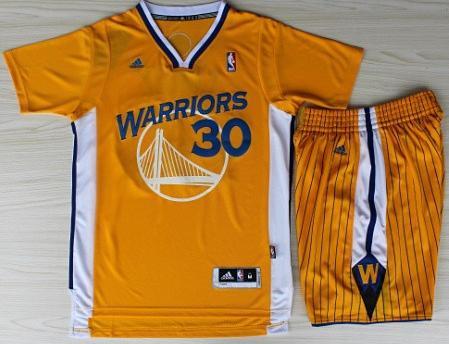 Golden State Warriors 30 Stephen Curry Yellow Revolution 30 Swingman Basketball Jerseys Shorts Basketball Suits