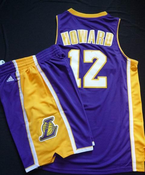 Los Angeles Lakers 12# Dwight Howard Purple Revolution 30 Swingman Basketball Jersey & Shorts Suit