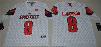 Louisville Cardinals #8 Lamar Jackson White AAC Patch Stitched NCAA Jersey