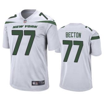 Men's 2020 Draft Jets White Mekhi Becton Game Jersey