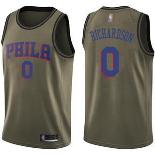 Men's 76ers #0 Josh Richardson Green Basketball Swingman Salute to Service Jersey