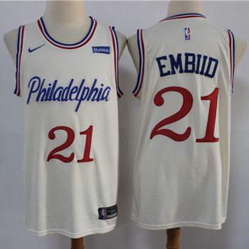 Men's 76ers #21 Joel Embiid Cream New 2019-2020 City Edition Swingman Basketball Jersey