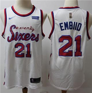 Men's 76ers #21 Joel Embiid White Basketball Swingman Hardwood Classics Jersey