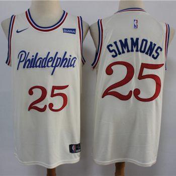Men's 76ers #25 Ben Simmons Cream New 2019-2020 City Edition Swingman Basketball Jersey