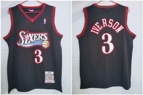 Men's 76ers #3 Allen Iverson Black 1997-98 Stitched Hardwood Classics Basketball Jersey