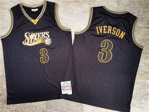 Men's 76ers #3 Allen Iverson Black Stitched 2000-01 Hardwood Classics Basketball Jersey