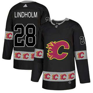 Men's  Calgary Flames #28 Elias Lindholm Black  Team Logo Fashion Stitched Hockey Jersey