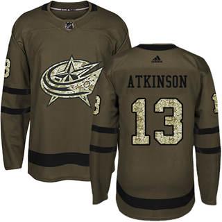 Men's  Columbus Blue Jackets #13 Cam Atkinson Green Salute to Service Stitched Hockey Jersey