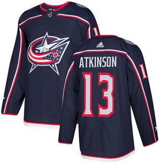 Men's  Columbus Blue Jackets #13 Cam Atkinson Navy Blue Home  Stitched Hockey Jersey