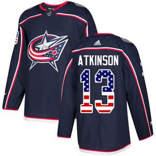Men's  Columbus Blue Jackets #13 Cam Atkinson Navy Blue Home  USA Flag Stitched Hockey Jersey