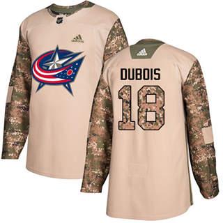 Men's  Columbus Blue Jackets #18 Pierre-Luc Dubois Camo  2017 Veterans Day Stitched Hockey Jersey