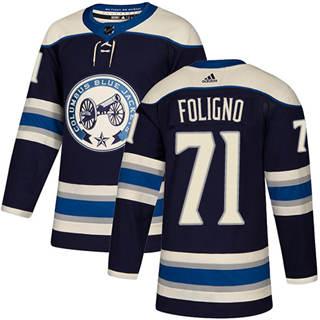 Men's  Columbus Blue Jackets #71 Nick Foligno Navy Alternate  Stitched Hockey Jersey