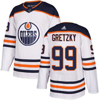 Men's  Edmonton Oilers #99 Wayne Gretzky White Road  Stitched Hockey Jersey
