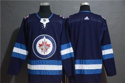 Men's  Jets Blank Navy Stitched Hockey Hockey Jersey