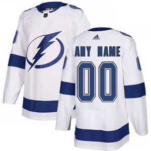 Men's  Lightning Personalized  White Road Hockey Jersey