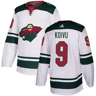 Men's  Minnesota Wild #9 Mikko Koivu White Road  Stitched Hockey Jersey