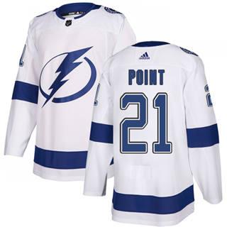 Men's  Tampa Bay Lightning #21 Brayden Point White Road  Stitched Hockey Jersey