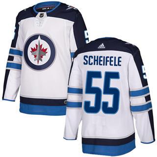 Men's  Winnipeg Jets #55 Mark Scheifele White Road  Stitched Hockey Jersey