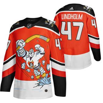 Men's Anaheim Ducks #47 Hampus Lindholm Red 2020-21 Reverse Retro Alternate Hockey Jersey
