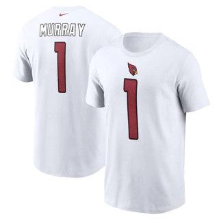 Men's Arizona Cardinals #1 Kyler Murray Name & Number T-Shirt White
