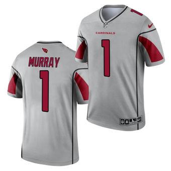 Men's Arizona Cardinals #1 Kyler Murray Silver 2021 Inverted Legend Stitched Jersey