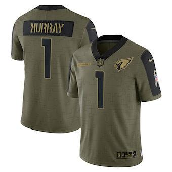 Men's Arizona Cardinals Kyler Murray Football Olive 2021 Salute To Service Limited Player Jersey