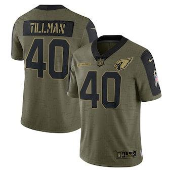 Men's Arizona Cardinals Pat Tillman Football Olive 2021 Salute To Service Retired Player Limited Jersey