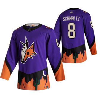 Men's Arizona Coyotes #8 Nick Schmaltz Purple 2020-21 Reverse Retro Alternate Hockey Jersey