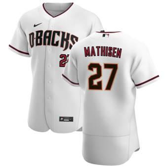 Men's Arizona Diamondbacks #27 Wyatt Mathisen White Crimson Authentic Home Team Baseball Jersey