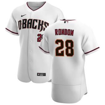 Men's Arizona Diamondbacks #28 Hector Rondon White Crimson Authentic Home Team Baseball Jersey