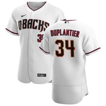 Men's Arizona Diamondbacks #34 Jon Duplantier White Crimson Authentic Home Team Baseball Jersey