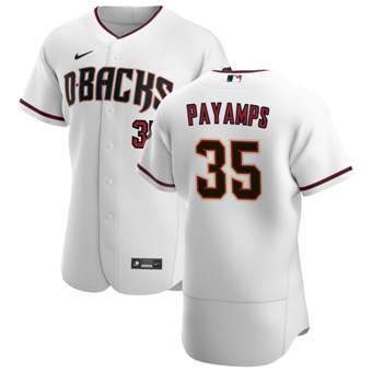 Men's Arizona Diamondbacks #35 Joel Payamps White Crimson Authentic Home Team Baseball Jersey