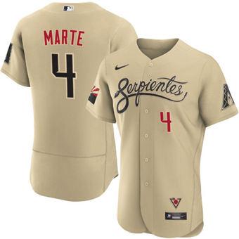 Men's Arizona Diamondbacks #4 Ketel Marte 2021 Gold City Connect Flex Base Stitched Baseball Jersey